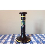 Black Candle Holder with Flowers Raglan England Whieldon Ware 8 Inches High - $173.25