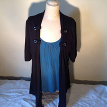 Black Cardigan Short Sleeves Blue Tank Top All In One Very Fashionable Size XL