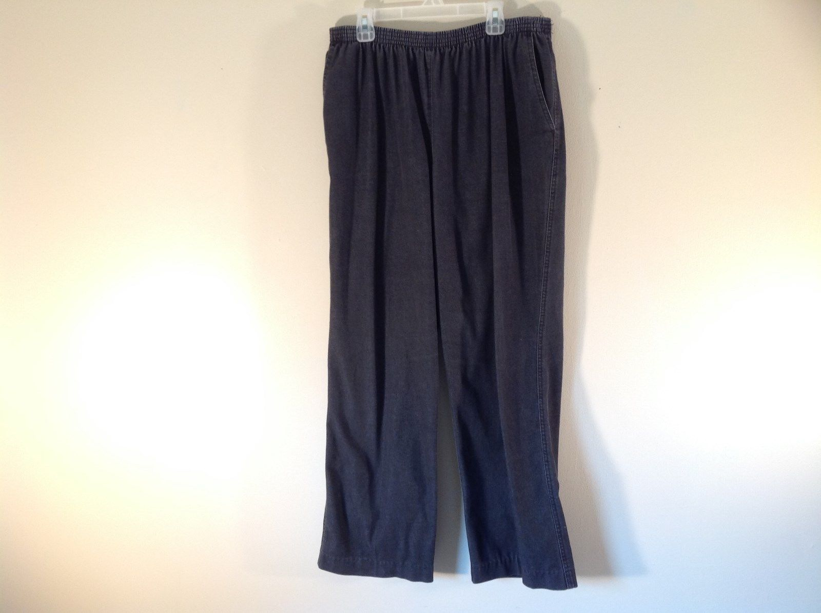 Black Charcoal Elastic Waist Alfred Dunner Casual Pants Size 16 Cotton Blend