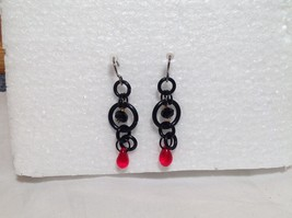 Black Circular Design Red Stone Steam Punk Dangling Earrings Hook is Silver Tone image 1