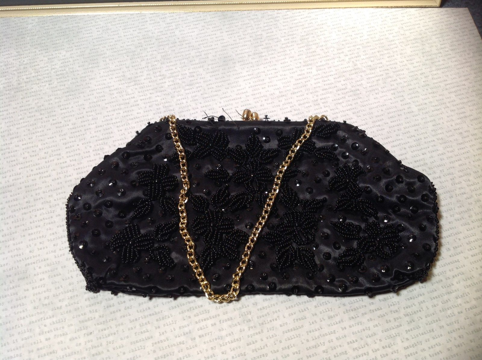 Black Clutch Bag with Beads on Outside Flowers Gold Chain Pocket Section Inside