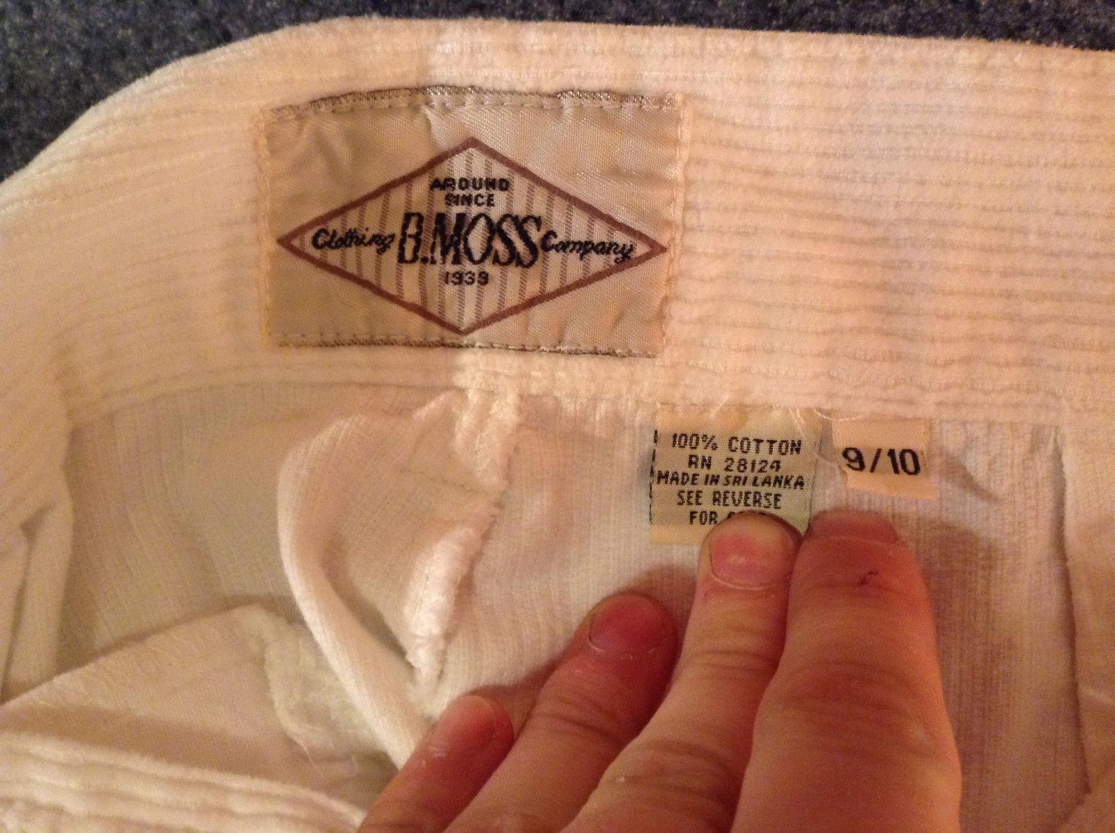 B Moss Clothing Company 100 Percent Cotton White Corduroy Pants Size 9 to 10