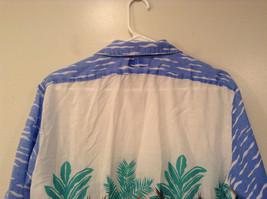 BDF White Blue Green Hawaii Village Pattern Button Up Short Sleeve Shirt Size L image 6