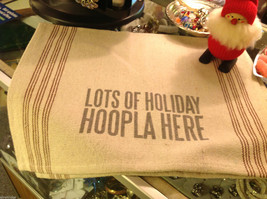 2 Canvas Towels Rustic w Lots of Holiday Hoopla Here Christmas or other message image 2