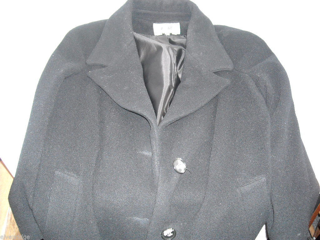 Black Double Breasted Wool Dress Coat