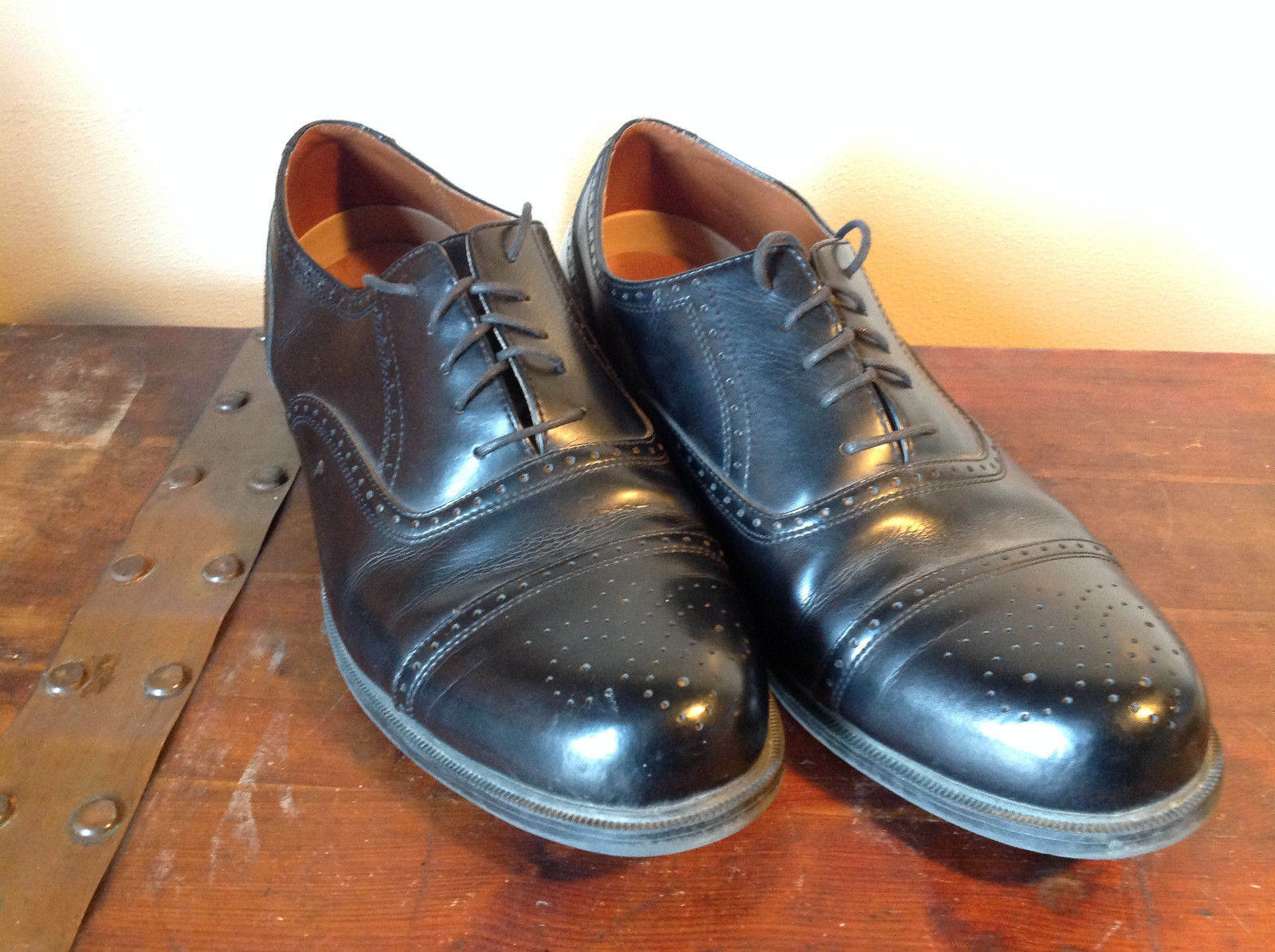 Black Deer Stags Comfort Leather Tie Laces Size 15W