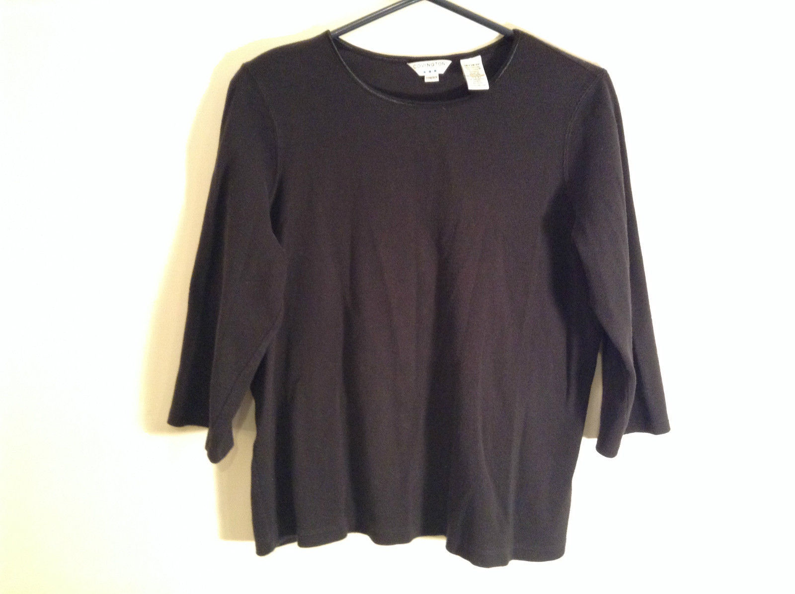 Black Covington Stretch Three Quarter Length Sleeves Sweater Size 16 to 18W