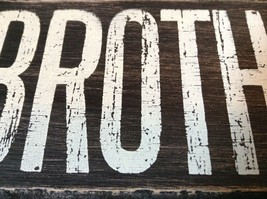 BROTHER  in White Letters on Black Wooden Tile Sign Magnet image 2