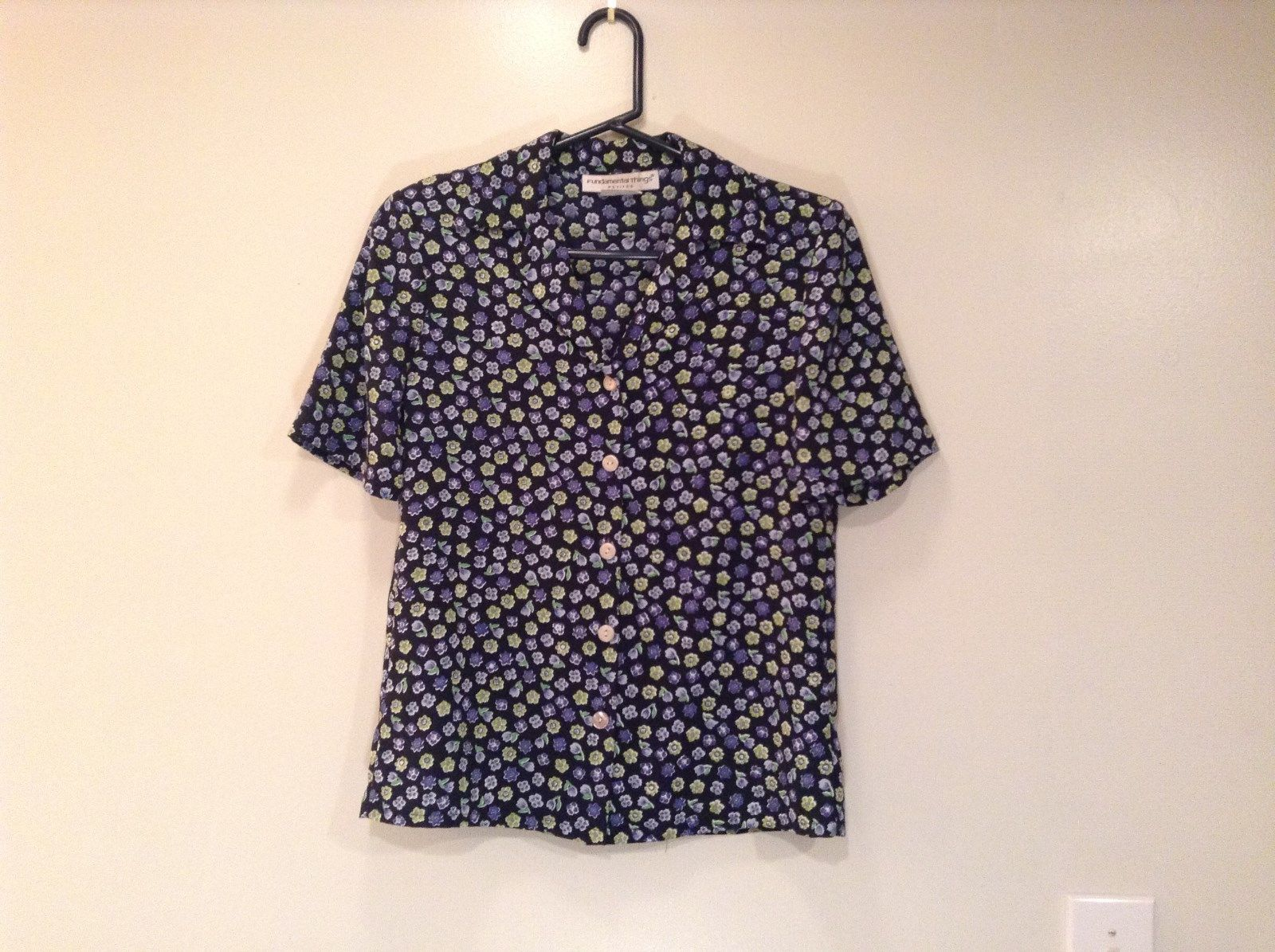 Black Floral Fundamental Things Petite Short Sleeve Button Up Blouse Size SP
