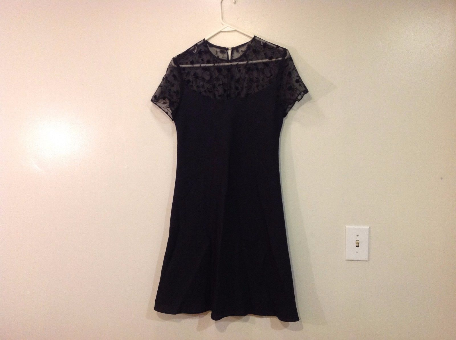 Black Evening Special Occasion Dress Lace A Line No Tags