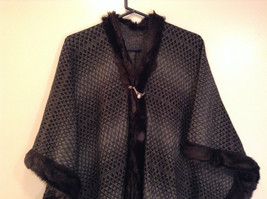 Black Dark Gray Faux Fur Trimmed Wrap Shawl One Size Mad About Style