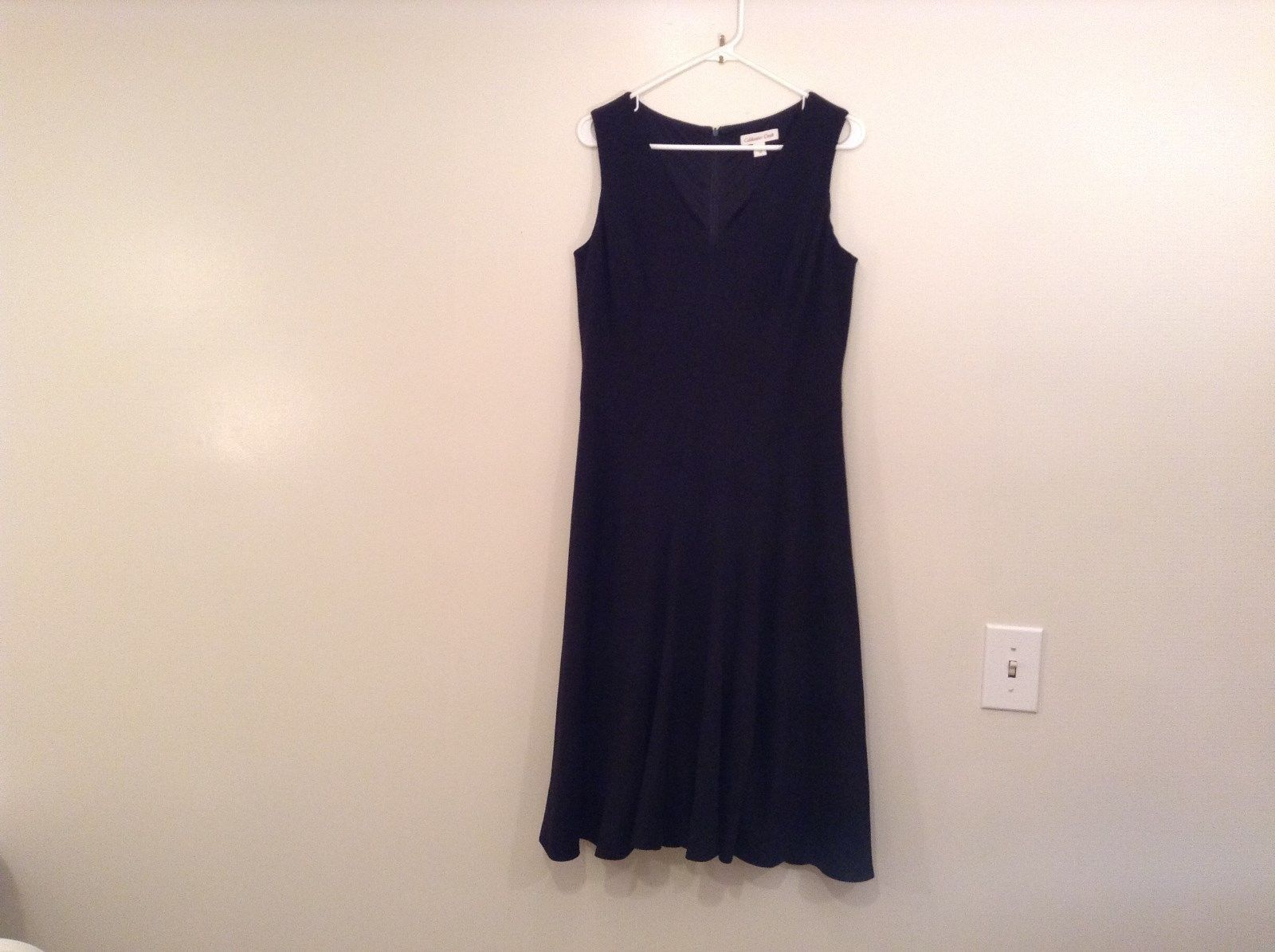 Black Fully Lined Sleeveless Coldwater Creek V Neck Dress Size 10 Back Zipper