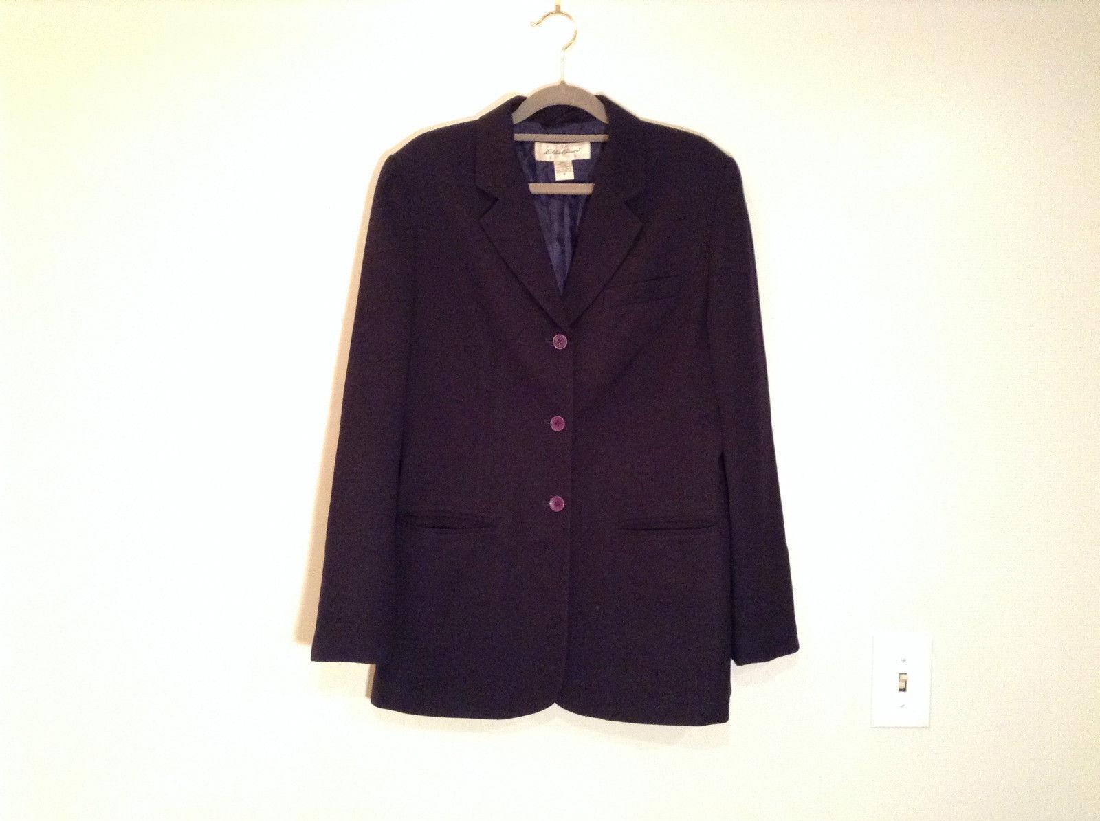 Black Fully Lined Eddie Bauer 100 Percent Wool Blazer Jacket Size 8