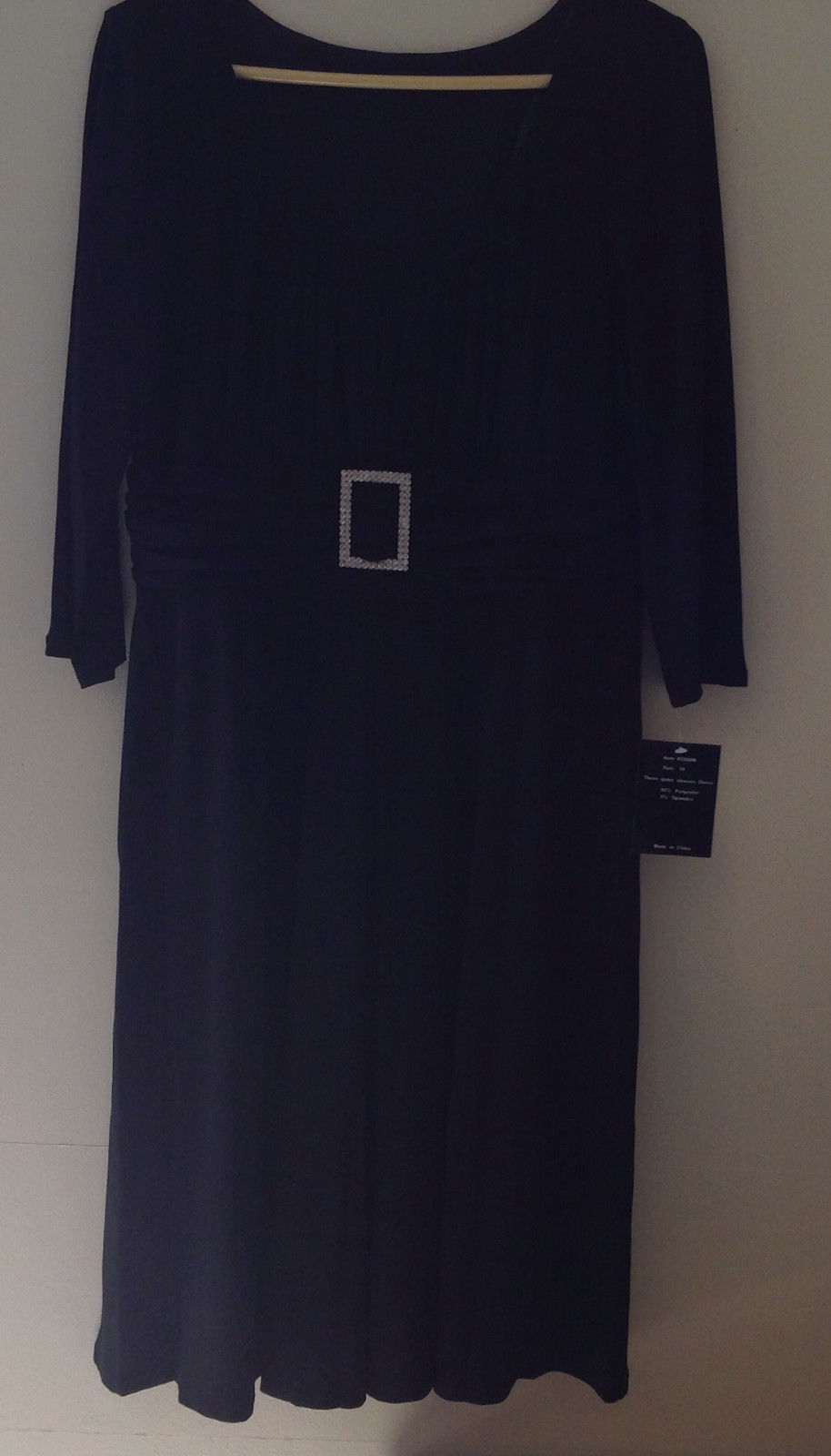 Black Formal Dress Three Quarter Length Sleeves Belt with Buckle Bling Size 10