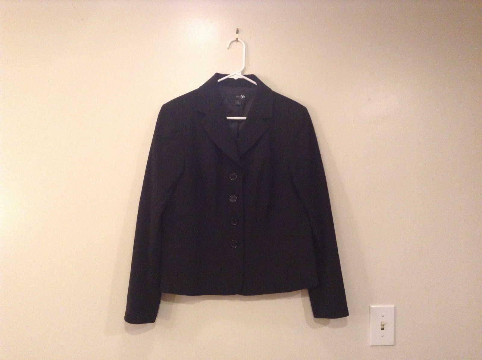 Black Fully Lined Jacket Size 12 East 5th Essentials Front Pockets