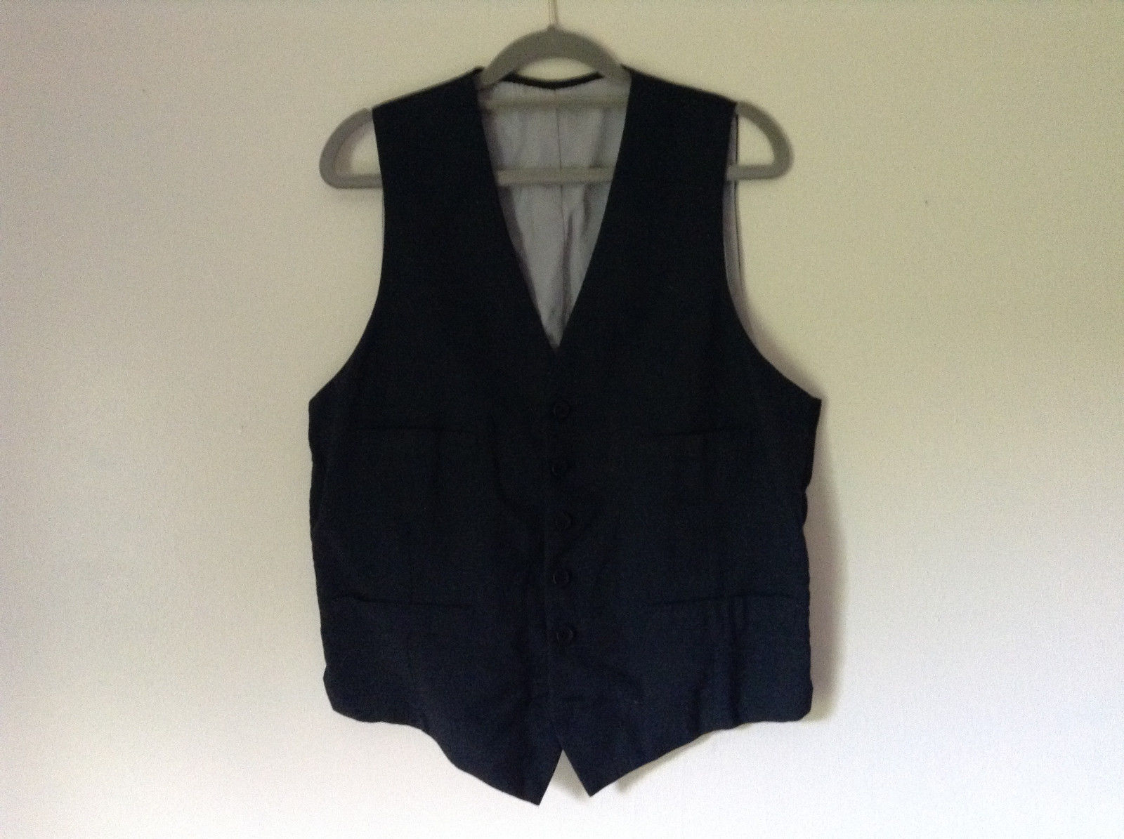 Black Formal Vest with Gray Lining Front Pockets 5 Button Closure V Neck NO TAG