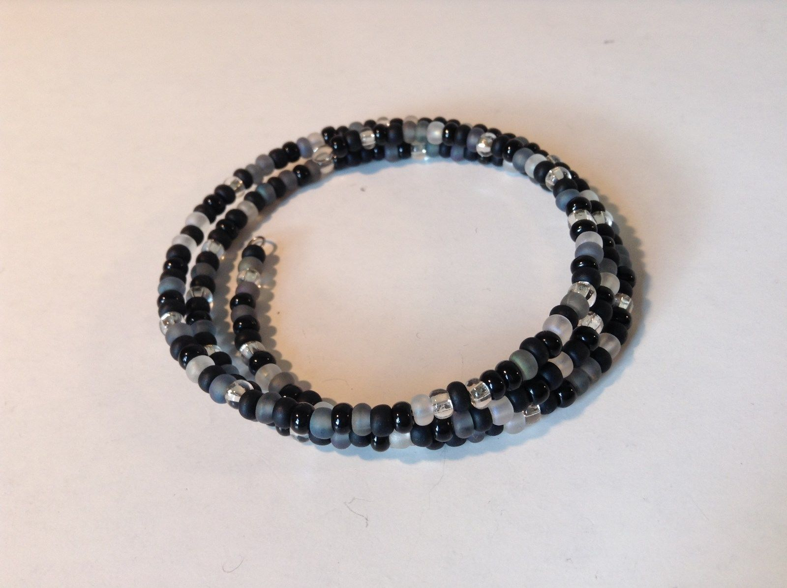 Black Gray Clear Beaded Coil Adjustable Bracelet