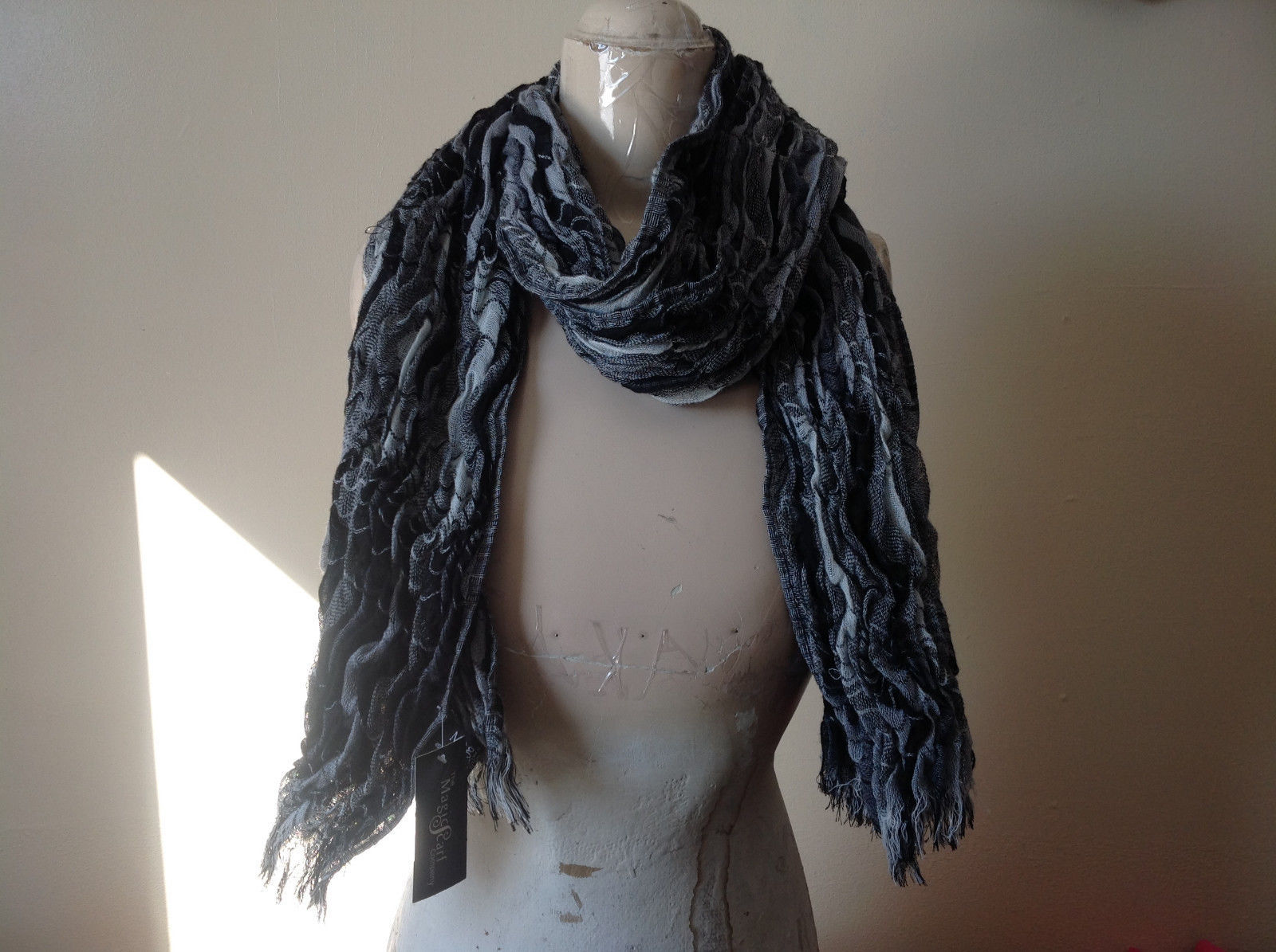 Black Gray and White Scrunched Scarf from The Magic Scarf Company 70 Inches