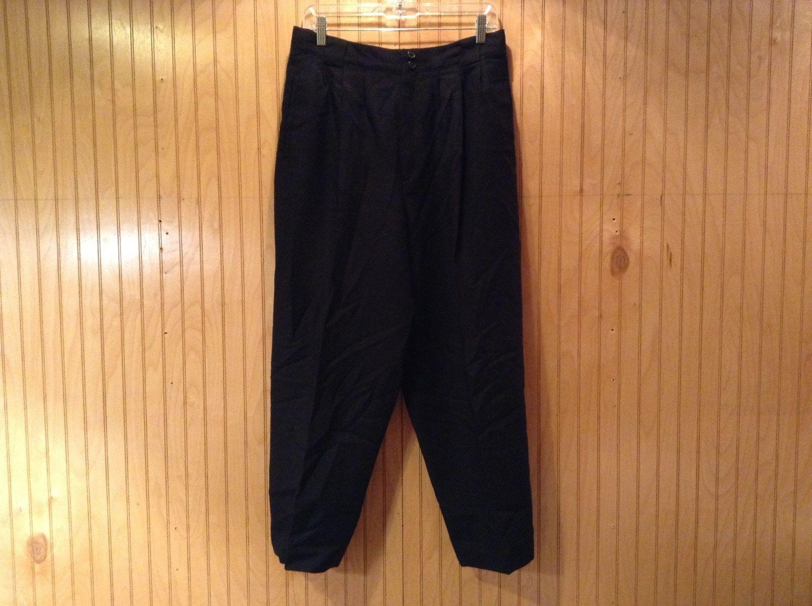 Black Giorgio Saint Angelo 100 Percent Wool Dress Pants Zipper Buttons Closure