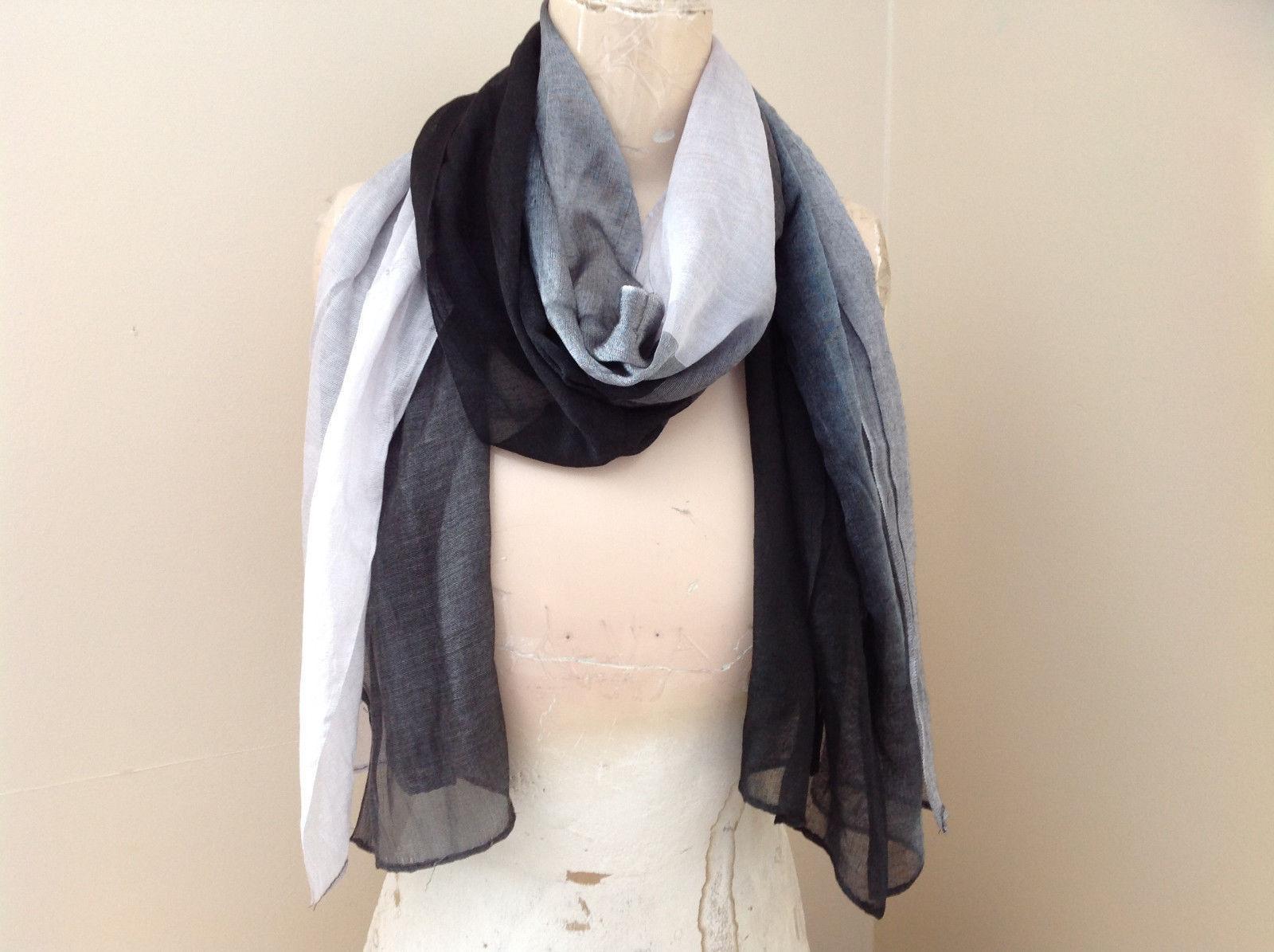 Black Grey Watercolor Fashion Scarf Shiny Sheer Material NO TAG
