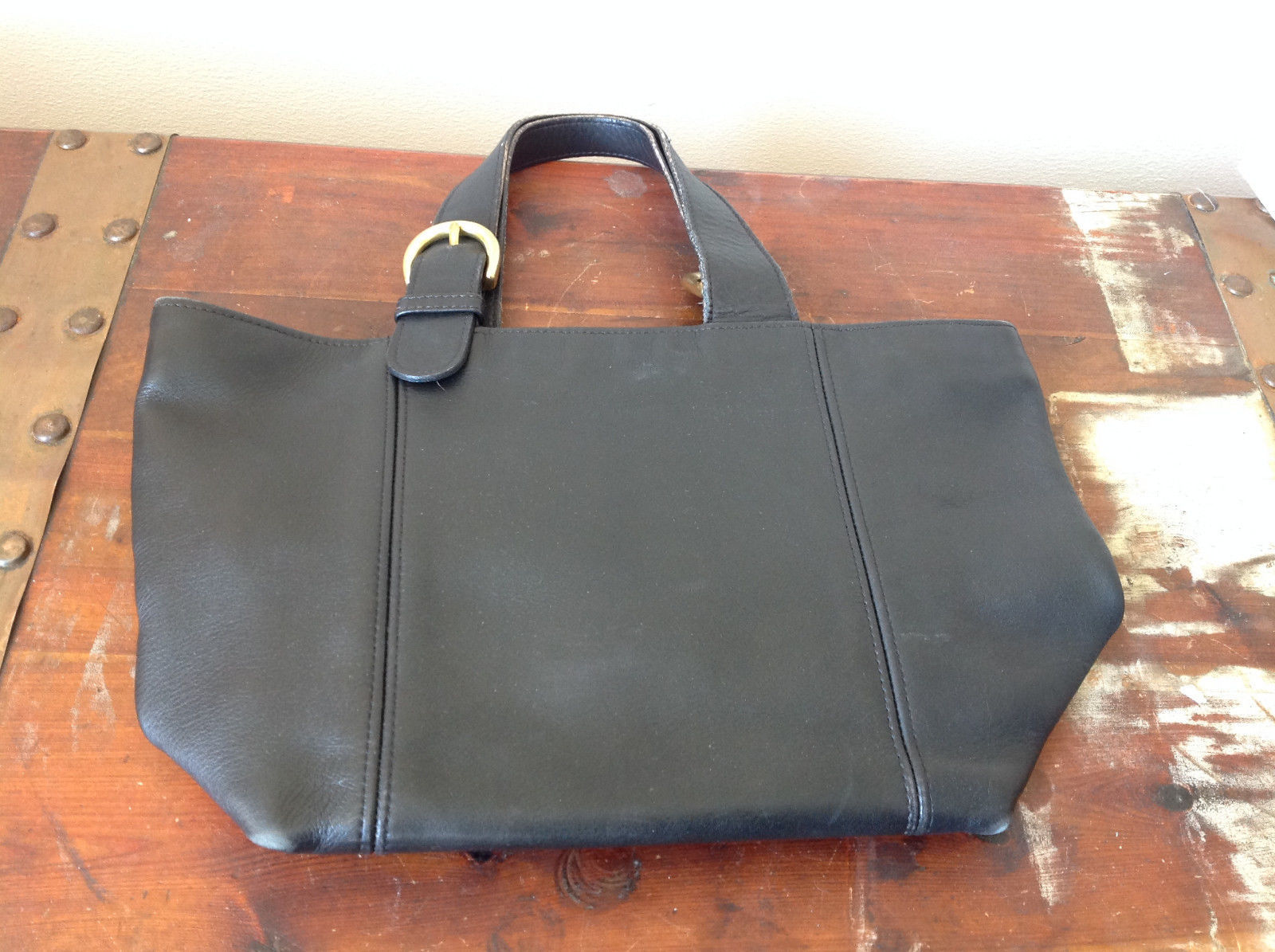 Black Handle Purse Real Leather Handcrafted 2 Inner Pockets Excellent Condition