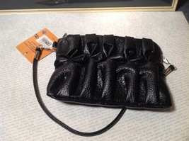 Black Half Bow Clutch Bag with Zipper Closure Mountain Mama Long Shoulder Strap