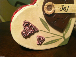 2 Heart Boxes Decorated w/ Wooden Heart Flowers Valentine's Day Decor image 3