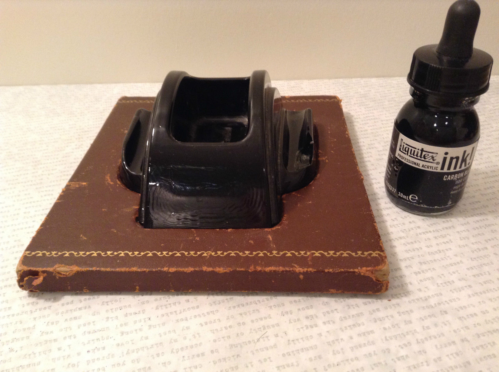 Black Inkwell with Stand and Black Ink Leather Bound Stand Vintage