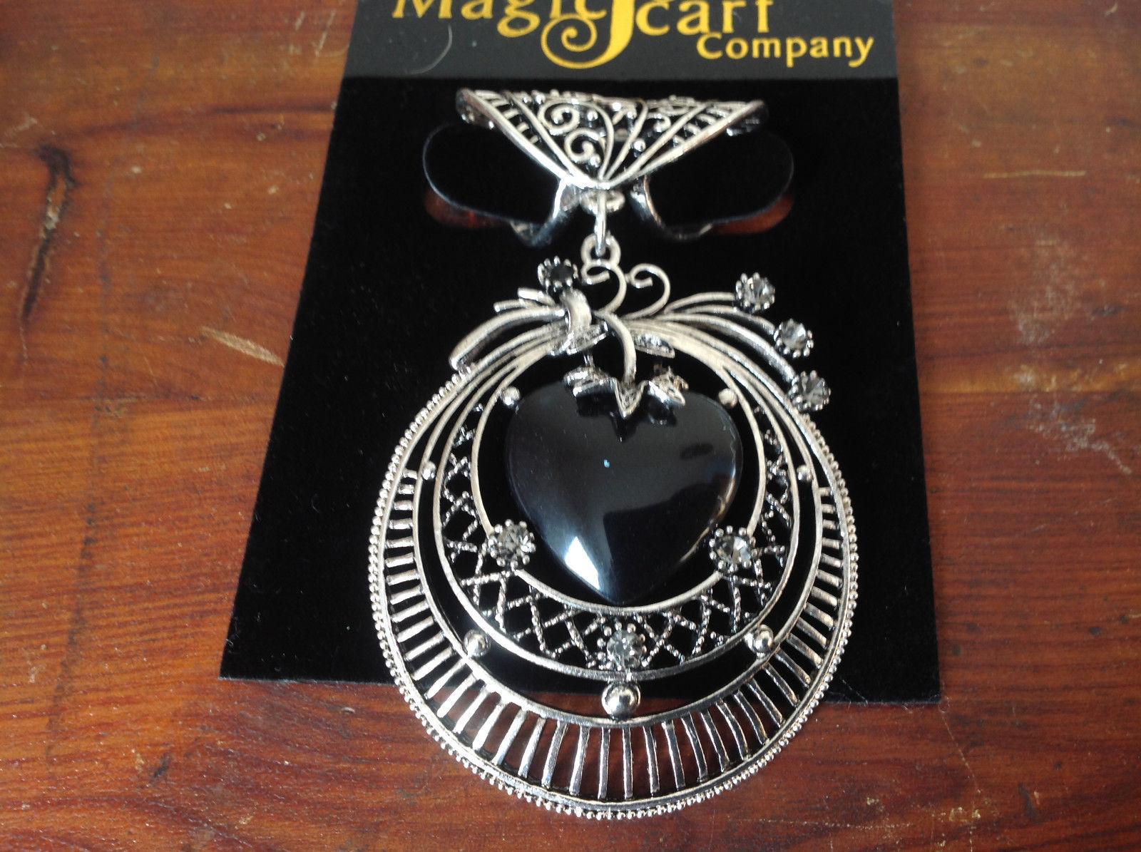 Black Heart Shaped Stone and Crystals Silver Tone Scarf Pendant by Magic Scarf