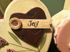 2 Heart Boxes Decorated w/ Wooden Heart Flowers Valentine's Day Decor image 4