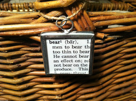 2 Sided Charm - Bear w/ Definition in metal frame image 3