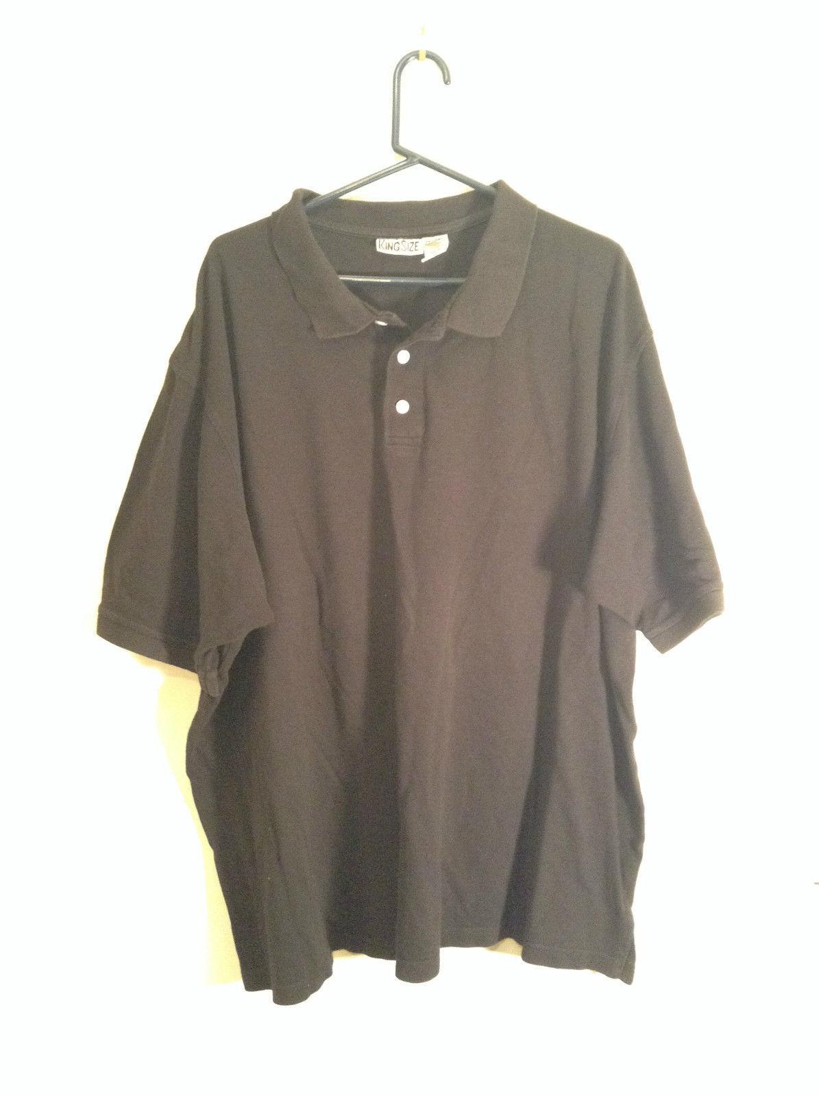 Black King Size 100 Percent Cotton Short Sleeve Tall Polo Shirt Size XXXL