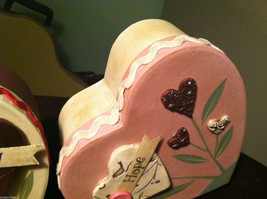 2 Heart Boxes Decorated w/ Wooden Heart Flowers Valentine's Day Decor image 5