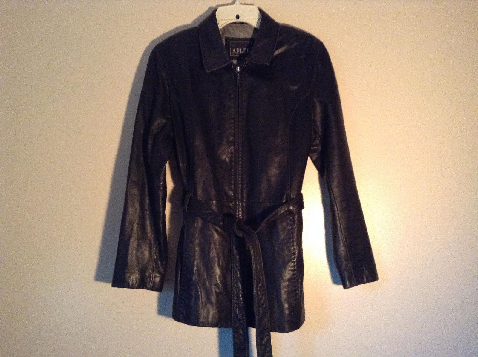 Black Leather Jacket by Adler Collection Zip Up with Belt Shoulder Pads Size L