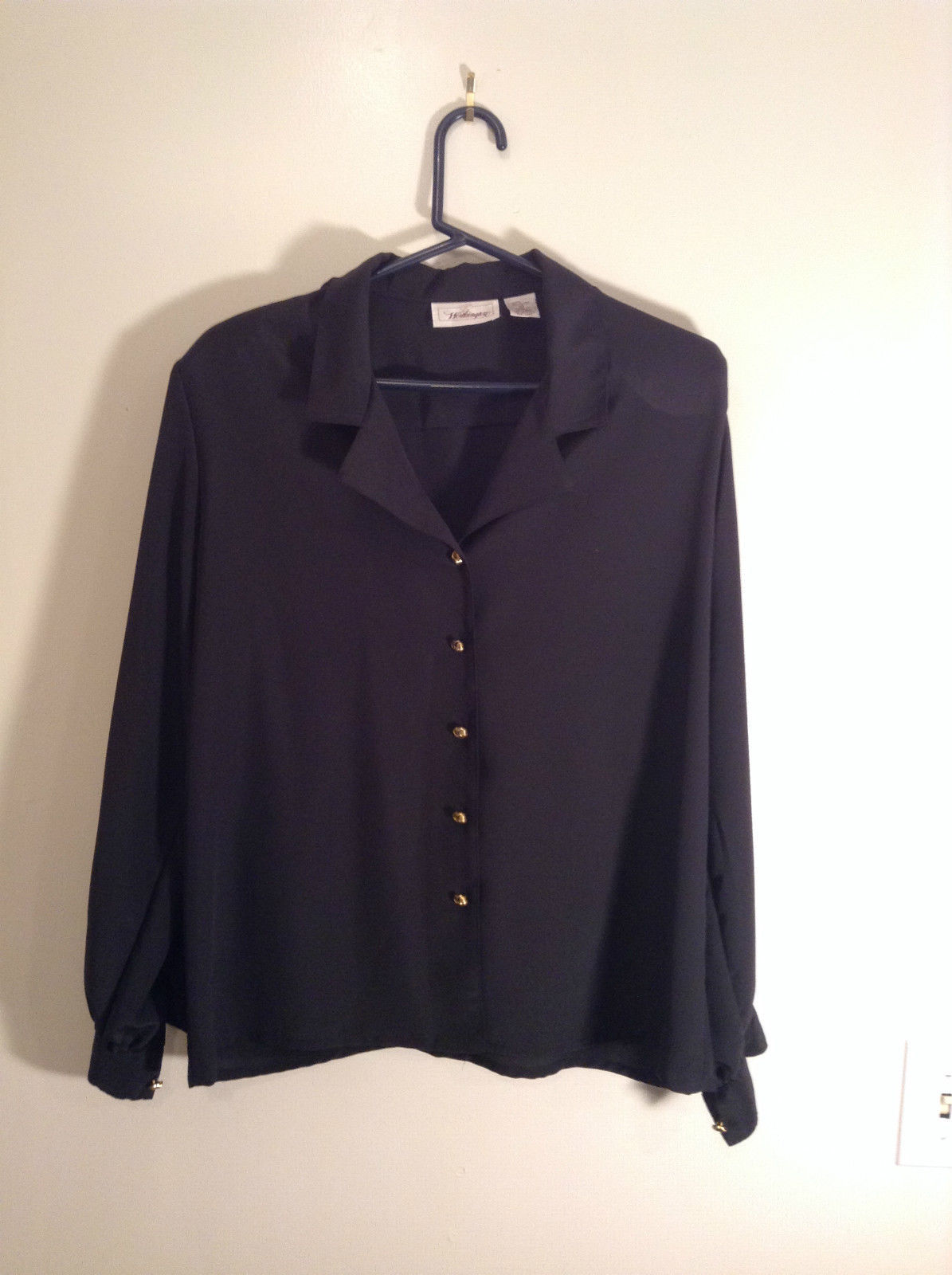 Black Long Sleeve Button Up Blouse Gold Toned Buttons Size 15 Worthington