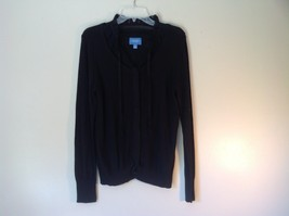 Black Long Sleeve Button Up Shirt Simply Vera Vera Wang Fancy Collar Size Large image 1