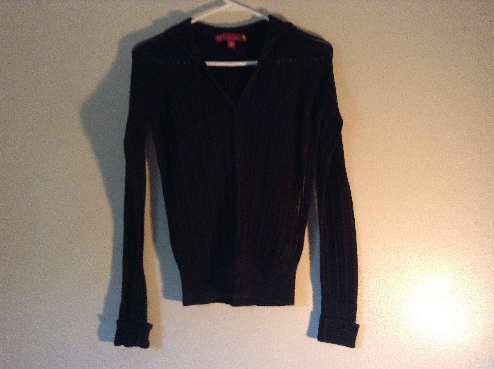 Black Long Sleeve Sweater with Hoodie by SO See Through Buttons on Top Size XL
