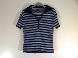 Black Light Blue Striped Short Sleeve V Neck Top Alexandra Bartlett Size S
