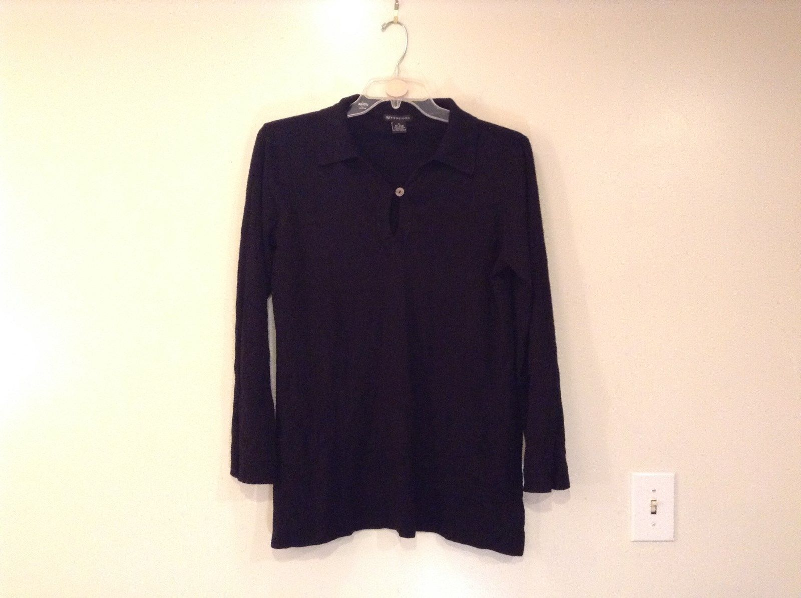 Black Long Sleeve V Neck with Button Sweater 89th and Madison Size XL Very Nice