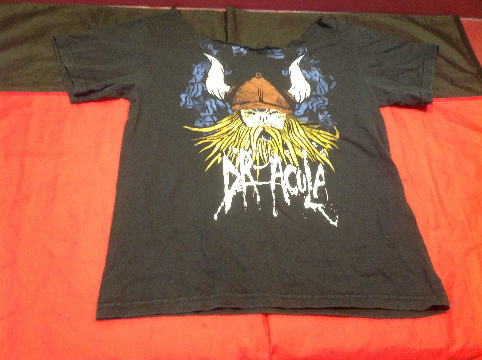 Black Logo Dracula Mens Short Sleeve T-Shirt Size 18 Inch W 25 Inch L