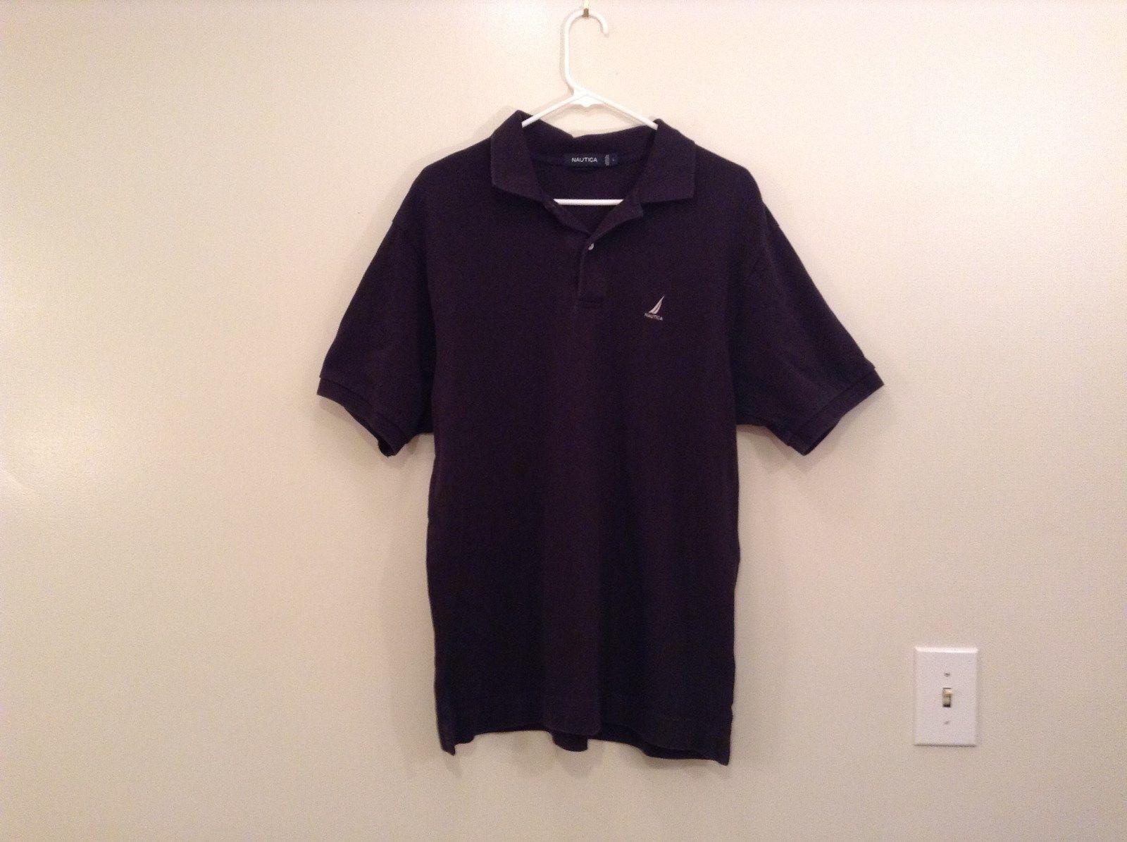 Black Nautica 100 Percent Cotton Short Sleeve Polo Shirt Size Large