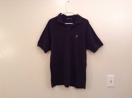 Black Nautica 100 Percent Cotton Short Sleeve Polo Shirt Size Large