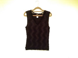 Black Nicola Sleeveless V Neck Tank Top Lace on Neckline and Bottom Size Medium