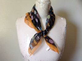 Black Orange Polka Dot Sheer Orange Border Square Scarf by Hanfei Light Weight