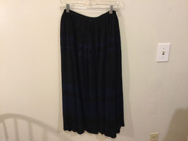 Black Navy Blue Stripes Stretchy Waist Front Buttons Maxi skirt, No Size tag