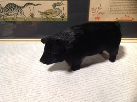 Black Pig Figurine Made with Recycled Rabbit Fur
