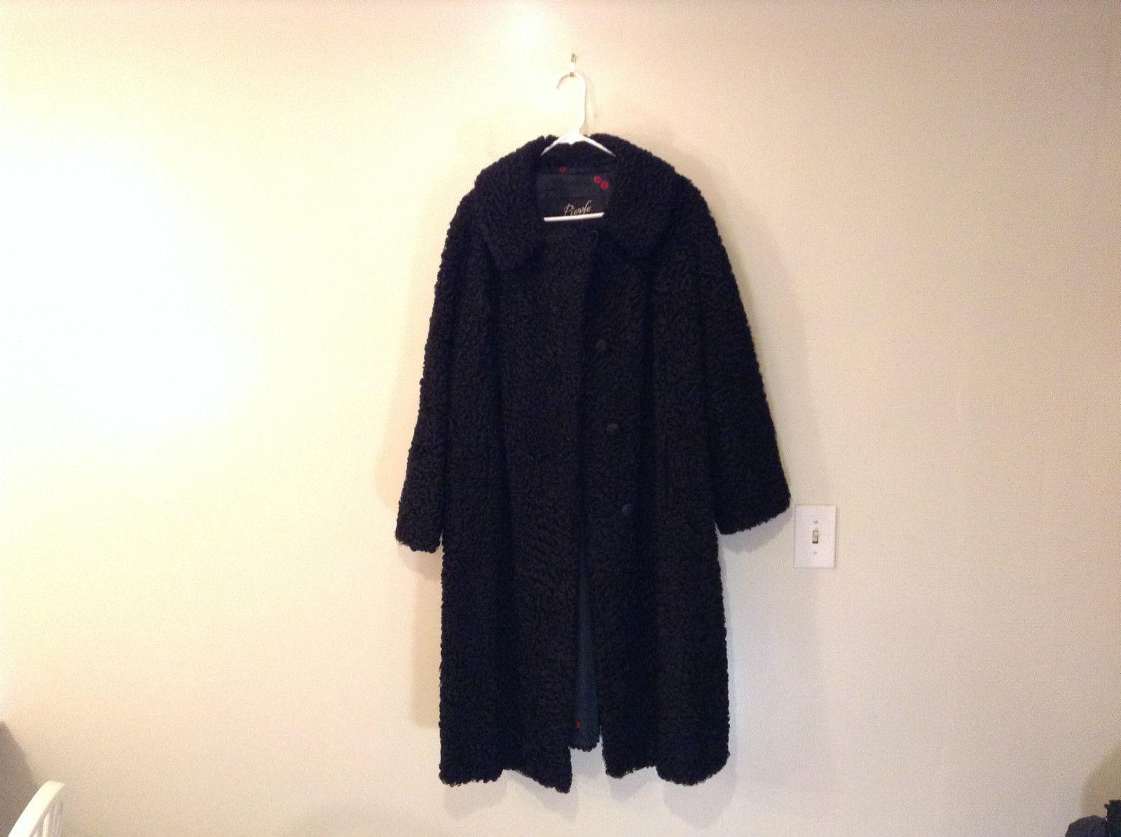 Black Persian Lamb Fur Coat by Pierre Furs No Size Tag Measurements Below