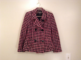 Black Pink Plaid Pattern Lined Blazer Marvin Richards 2 Front Pockets Size Small
