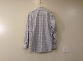 Banana Republic Slim Fit Button Up Shirt White with Blue Brown Stripes Size M image 2
