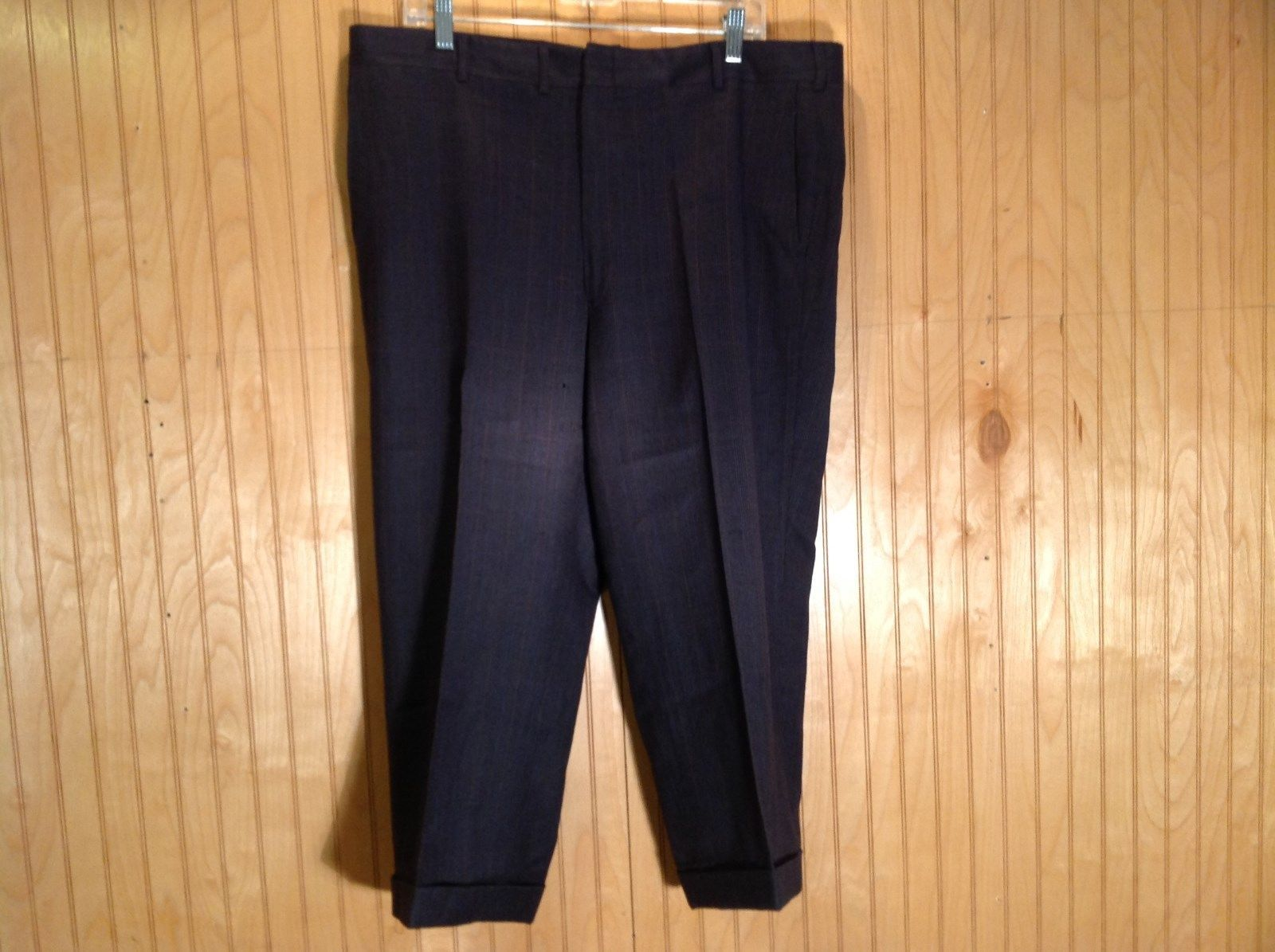 Black Pleated Dress Pants with Plaid Pattern Size 40 Tags Removed